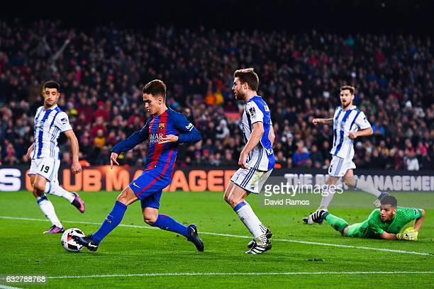 Denis Suarez of FC Barcelona scores his team's fifth goal during the Copa del Rey quarter-final second leg match between FC Barcelona and Real...