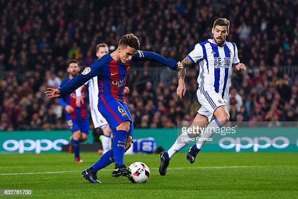 Denis Suarez of FC Barcelona scores the opening goal during the Copa del Rey quarter-final second leg match between FC Barcelona and Real Sociedad at...