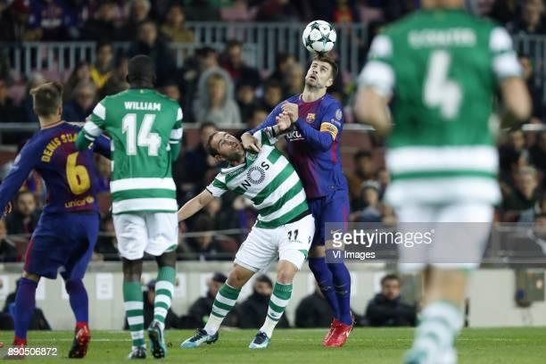 Denis Suarez of FC Barcelona William Carvalho of Sporting Club de Portugal Bruno Cesar of Sporting Club de Portugal Gerard Pique of FC Barcelona...