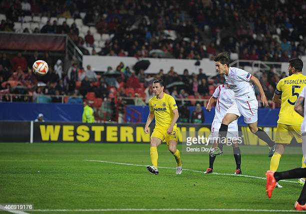 Denis Suarez of FC Sevilla scores his team's 2nd goal during the UEFA Europa League Round of 16, Second Leg match between FC Sevilla and Villarreal...