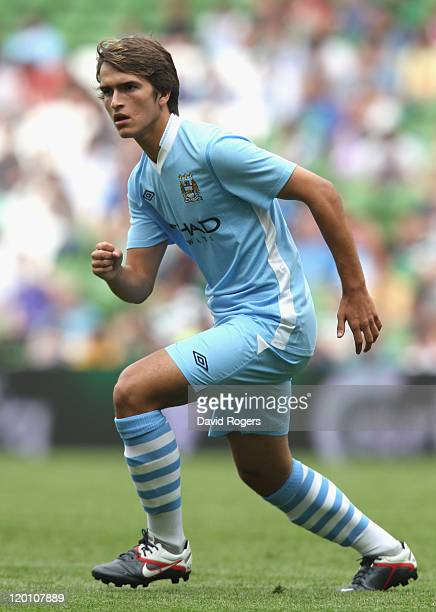 Denis Suarez of Manchester City looks on during the Dublin Super Cup match between Manchester City and Airtricity XI at Aviva Stadium on July 30,...