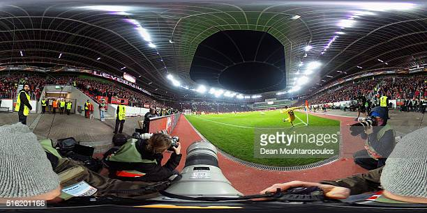 Denis Suarez of Villareal takes a croner during the UEFA Europa League round of 16 second leg match between Bayer Leverkusen and Villarreal CF at Bay...