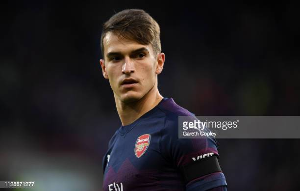 Denis Suárez of Arsenal during the Premier League match between Huddersfield Town and Arsenal FC at John Smith's Stadium on February 09, 2019 in...