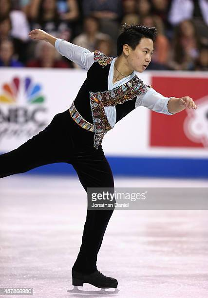 Denis Ten competes during the Men Free Skating during the 2014 Hilton HHonors Skate America competition at the Sears Centre Arena on October 25 2014...