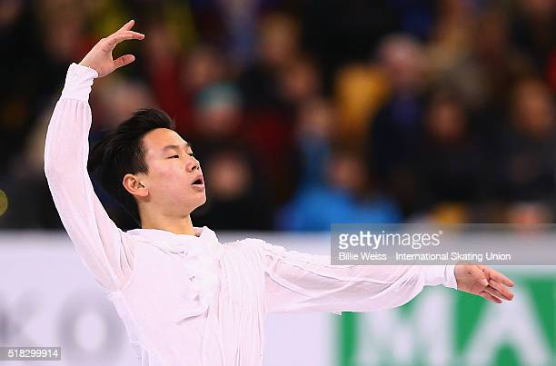 Denis Ten of Kazakhstan competes during Day 3 of the ISU World Figure Skating Championships 2016 at TD Garden on March 30 2016 in Boston Massachusetts