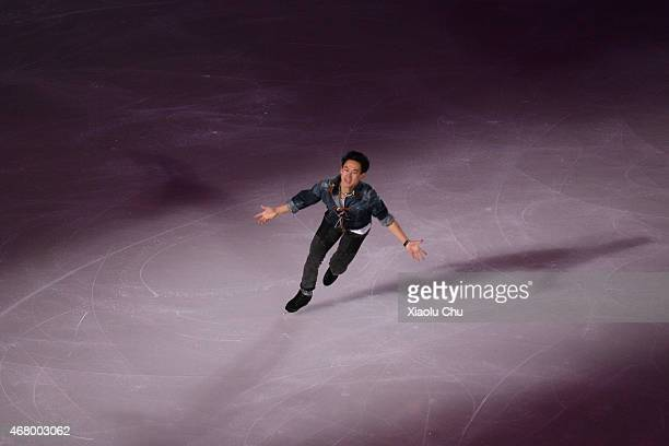 Denis Ten of Kazakhstan performs during the Exhibition Program on day five of the 2015 ISU World Figure Skating Championships at Shanghai Oriental...