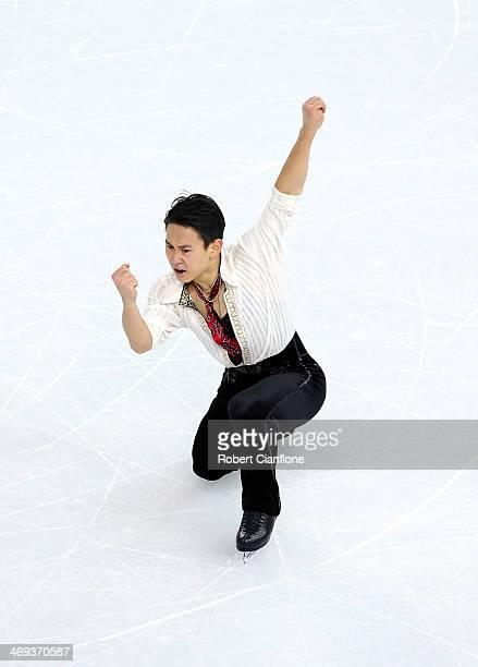 Denis Ten of Kazakhstan performs during the Figure Skating Men's Free Skating on day seven of the Sochi 2014 Winter Olympics at Iceberg Skating...
