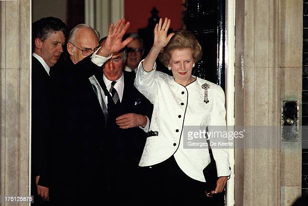 Denis Thatcher and Margaret Thatcher wave at Mikhail Gorbachev at the end of his official visit to London at 10 Downing Street on April 6 1989 in...
