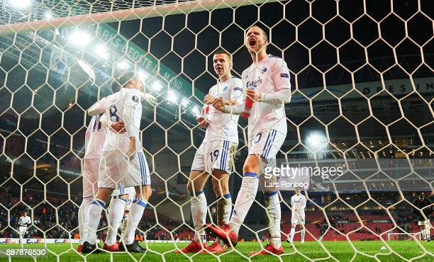 Denis Vavro and Nicolai Boilesen of FC Copenhagen celebrate after the UEFA Europa League match between FC Copenhagen and FC Sheriff at Telia Parken...