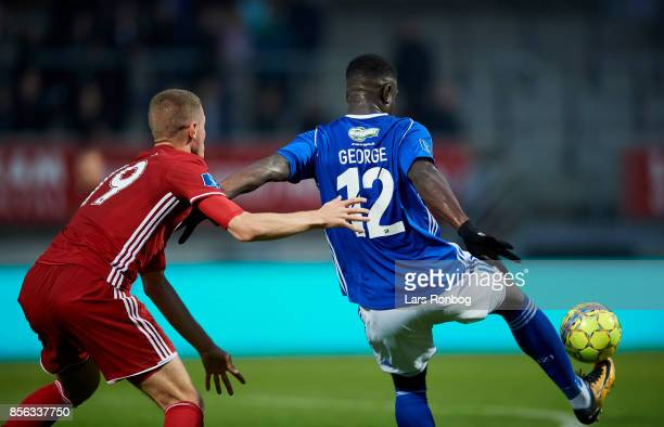 Denis Vavro of FC Copenhagen and Mayron George of Lyngby BK compete for the ball during the Danish Alka Superliga match between Lyngby BK and FC...