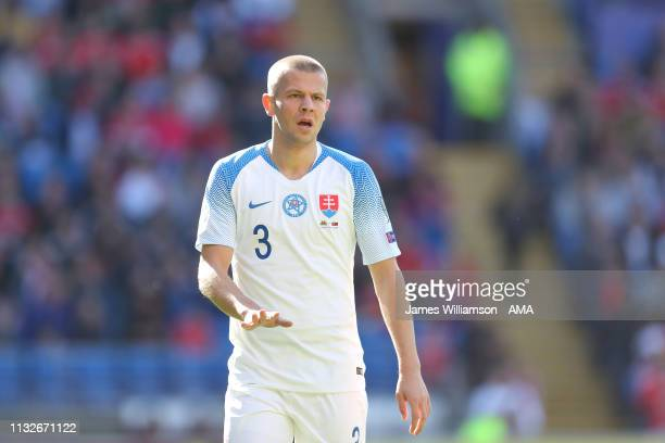 Denis Vavro of Slovakia during the 2020 UEFA European Championships group E qualifying match between Wales and Slovakia at Cardiff City Stadium on...