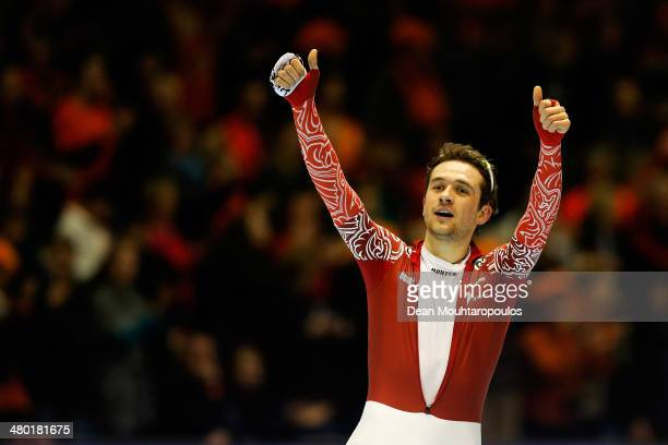 Denis Yuskov of Russia celebrates after he competes in the Mens 10000m race during day two of the Essent ISU World Allround Speed Skating...