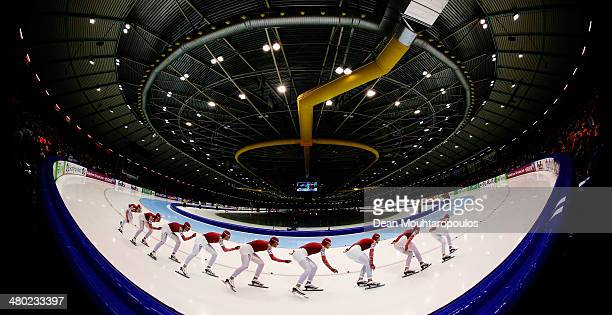 Denis Yuskov of Russia competes in the Mens 10000m race during day two of the Essent ISU World Allround Speed Skating Championships at the Thialf...