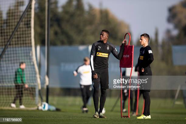 Denis Zakaria and Laszlo Benes of Borussia Moenchengladbach are seen during the Borussia Moenchengladbach Training Camp on January 09 2020 in Jerez...