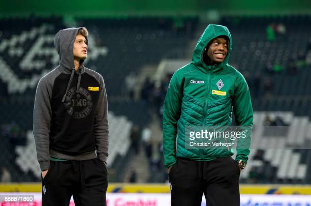 Denis Zakaria and Michael Cuisance of Borussia Moenchengladbach prior the Bundesliga match between Borussia Moenchengladbach and FC Schalke 04 at...
