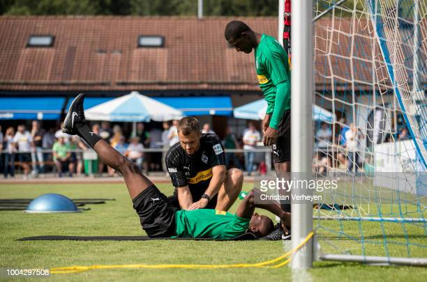 Denis Zakaria, Hendrik Schreiber and Mamadou Doucoure during a training session at Borussia Moenchengladbach Training Camp at Stadion am Birkenmoos...