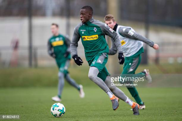 Denis Zakaria in action during a training session of Borussia Moenchengladbach at BorussiaPark on February 01 2018 in Moenchengladbach Germany
