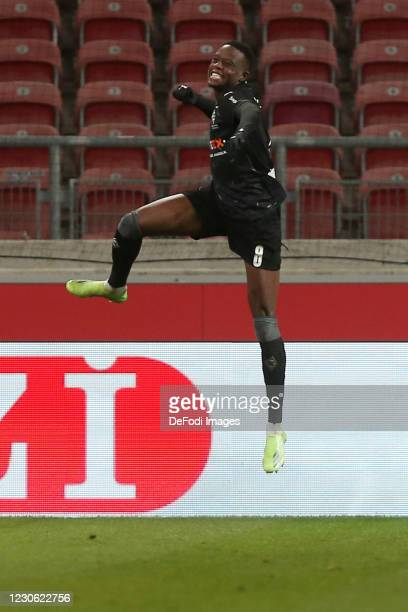 Denis Zakaria of Borussia Moenchengladbach celebrates after scoring his team's second goal during the Bundesliga match between VfB Stuttgart and...