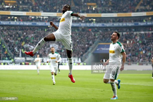 Denis Zakaria of Borussia Moenchengladbach celebrates his goal during the Bundesliga match between Eintracht Frankfurt and Borussia Moenchengladbach...