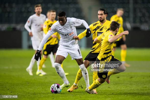 Denis Zakaria of Borussia Moenchengladbach in action during the Bundesliga match between Borussia Moenchengladbach and Borussia Dortmund at...