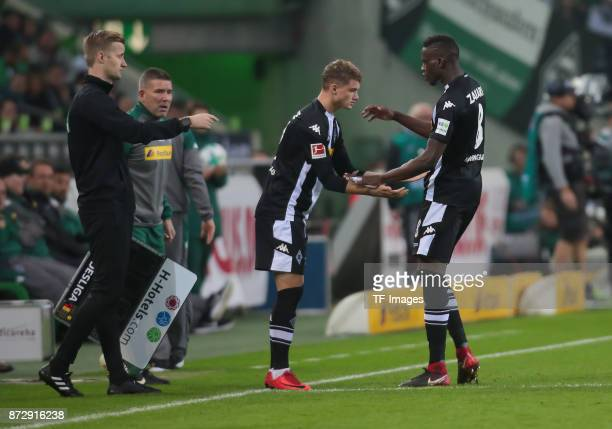 Denis Zakaria of Borussia Moenchengladbach is replaced by Mickael Cuisance of Borussia Moenchengladbach during the Bundesliga match between Borussia...