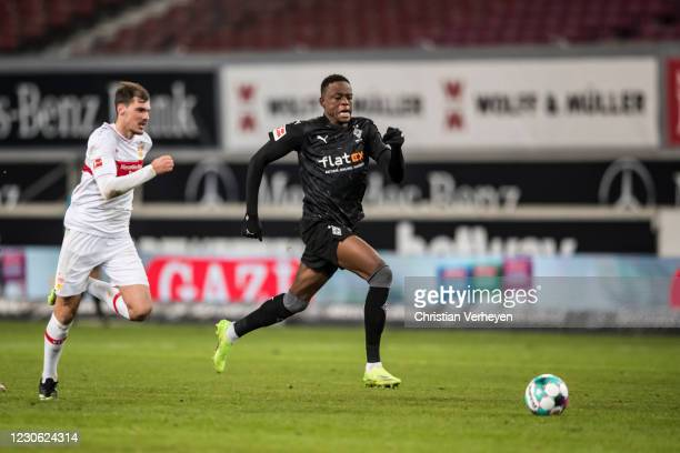 Denis Zakaria of Borussia Moenchengladbach on his way to score his teams second goal during the Bundesliga match between VfB Stuttgart and Borussia...