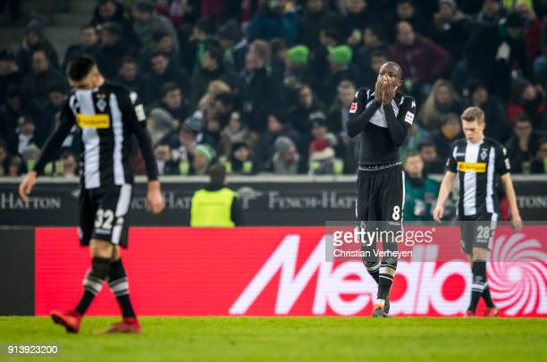 Denis Zakaria of Borussia Moenchengladbach react after the 01 during the Bundesliga match between Borussia Moenchengladbach and RB Leipzig at...
