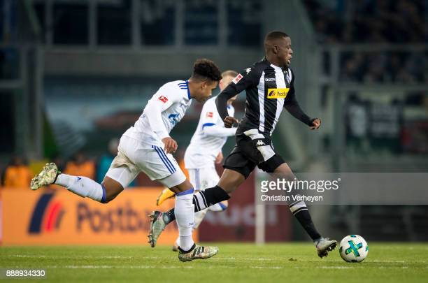 Denis Zakaria of Borussia Moenchengladbach runs with the ball during the Bundesliga match between Borussia Moenchengladbach and FC Schalke 04 at...