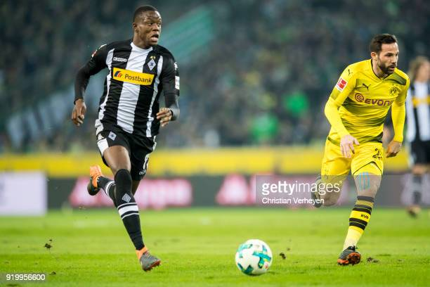 Denis Zakaria of Borussia Moenchengladbach runs with the ball during the Bundesliga match between Borussia Moenchengladbach and Borussia Dortmund at...