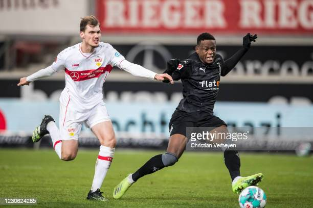 Denis Zakaria of Borussia Moenchengladbach score his teams second goal during the Bundesliga match between VfB Stuttgart and Borussia...