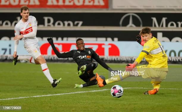 Denis Zakaria of Borussia Moenchengladbach scores their side's second goal past Gregor Kobel of VfB Stuttgart during the Bundesliga match between VfB...