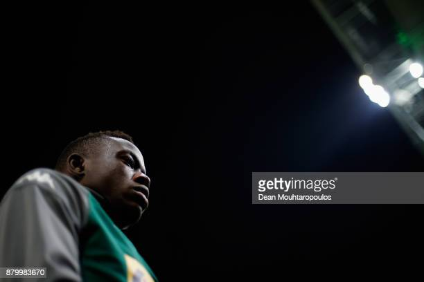 Denis Zakaria of Borussia Monchengladbach looks on prior to the Bundesliga match between Borussia Moenchengladbach and FC Bayern Muenchen at...