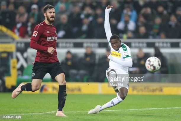 Denis Zakaria of Borussia Monchengladbach scores his team's fourth goal during the Bundesliga match between Borussia Moenchengladbach and Hannover 96...