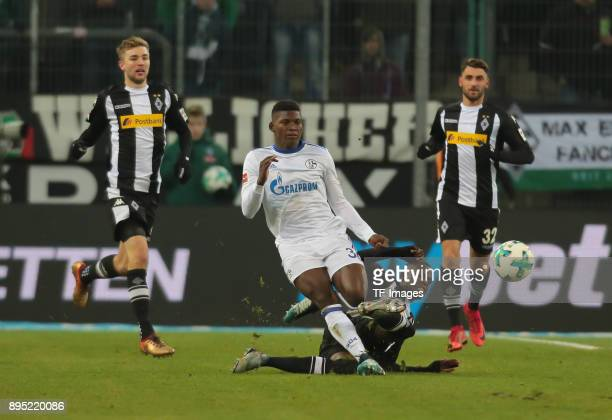Denis Zakaria of Moenchengladbach and Breel Embolo of Schalke battle for the ball during the Bundesliga match between Borussia Moenchengladbach and...