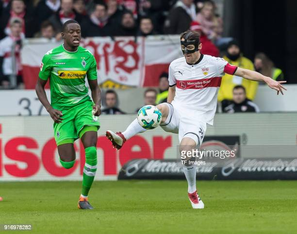 Denis Zakaria of Moenchengladbach and Christian Gentner of Stuttgart battle for the ball during the Bundesliga match between VfB Stuttgart and...