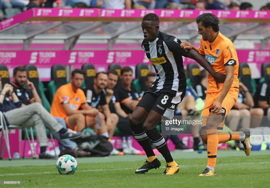 Denis Zakaria of Moenchengladbach and Florian Grillitsch of Hoffenheim battle for the ball during the Telekom Cup 2017 3rd place match between Borussia Moenchengladbach and TSG Hoffenheim at Borussia Park on July 15, 2017 in Moenchengladbach, Germany.