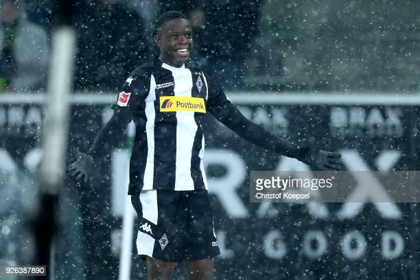 Denis Zakaria of Moenchengladbach celebrates the first goal during the Bundesliga match between Borussia Moenchengladbach and SV Werder Bremen at...