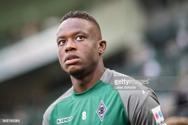 Denis Zakaria of Moenchengladbach looks up prior to the Bundesliga match between Borussia Moenchengladbach and VfL Wolfsburg at BorussiaPark on April...