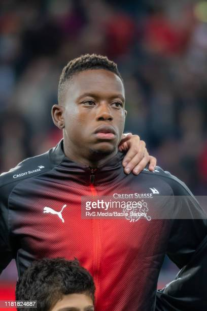 Denis Zakaria of Switzerland looks on during the Swiss national anthem prior to the UEFA Euro 2020 qualifier between Switzerland and Republic of...