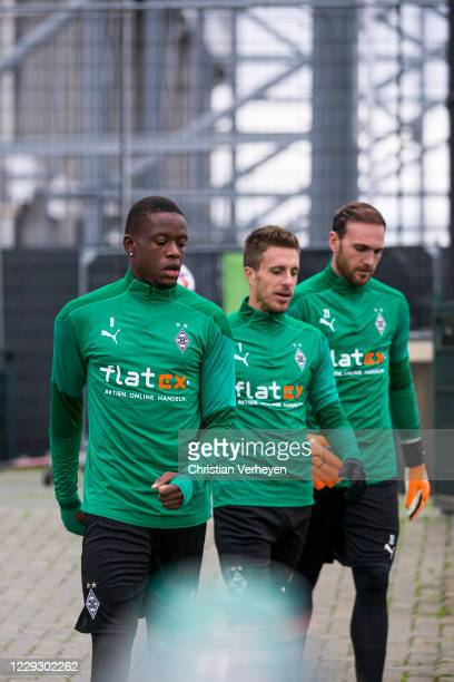 Denis Zakaria Patrick Herrmann and Tobias Sippel are seen during a Training session of Borussia Moenchengladbach at BorussiaPark on October 26 2020...