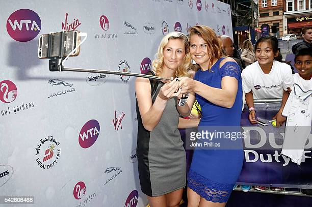 Denisa Allertova and Lucie Safarova attend the annual WTA PreWimbledon Party presented by Dubai Duty Free at the Kensington Roof Gardens on June 23...