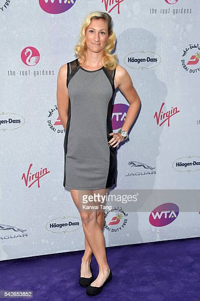 Denisa Allertova arrives for the WTA PreWimbledon Party at Kensington Roof Gardens on June 23 2016 in London England