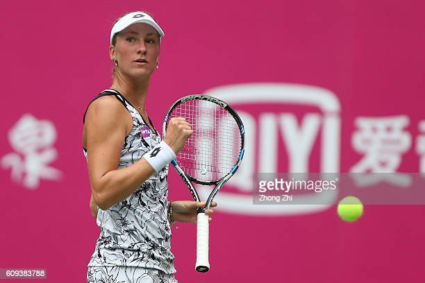 Denisa Allertova of Czech Republic celebrates a point during the match against Viktorija Golubic of Switzerland on Day 2 of WTA Guangzhou Open on...