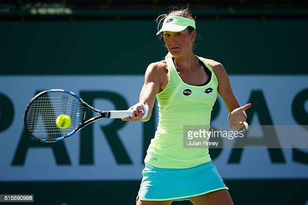 Denisa Allertova of Czech Republic in action against Johanna Konta of Great Britain during day eight of the BNP Paribas Open at Indian Wells Tennis...