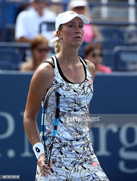 Denisa Allertova of Czech Republic looks on against Ana Ivanovic of Serbia during her first round Women's Singles match on Day Two of the 2016 US...