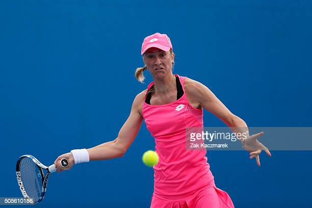 Denisa Allertova of Czech Republic plays a backhand in her first round match against Bethanie MattekSands of the United States during day two of the...