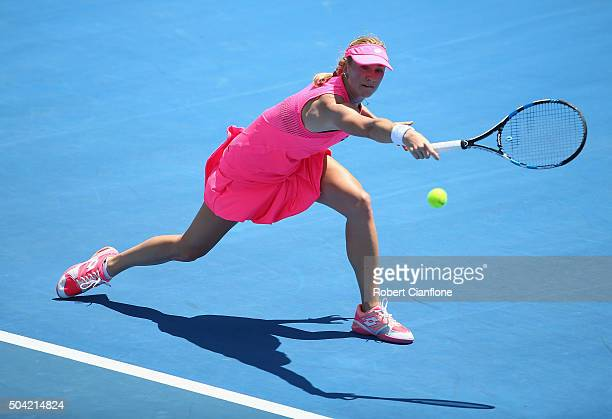 Denisa Allertova of Czech Republic plays a backhand in the women's singles match against Alize Cornet of France during day one of 2016 Hobart...