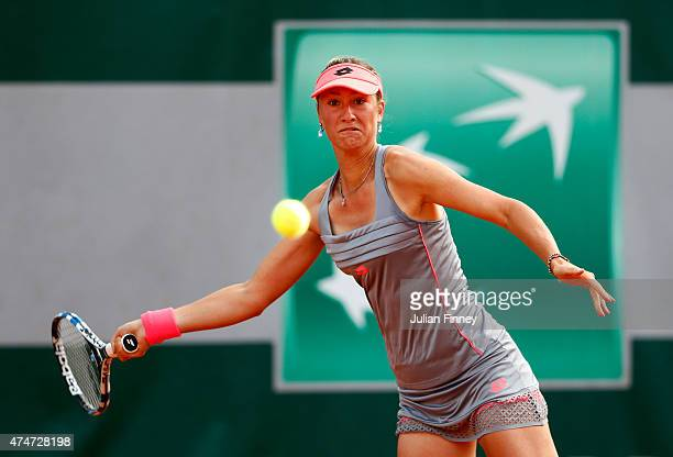 Denisa Allertova of Czech Republic plays a forehand during her women's singles match againstJohanna Konta of Great Britain on day two of the 2015...
