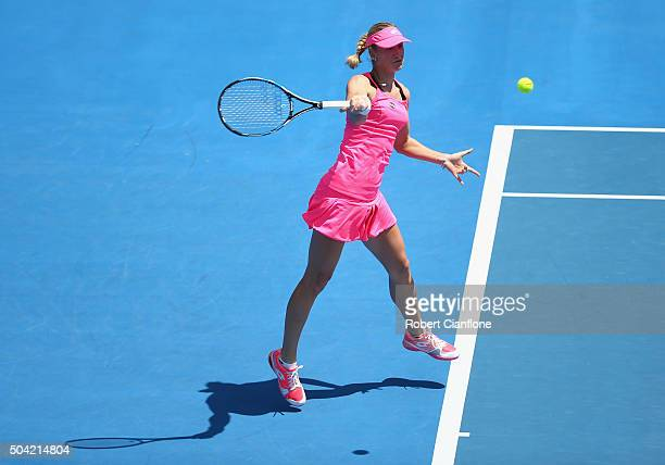 Denisa Allertova of Czech Republic plays a forehand in the women's singles match against Alize Cornet of France during day one of 2016 Hobart...