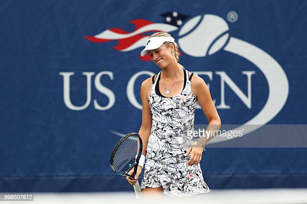 Denisa Allertova of Czech Republic reacts against Johanna Larsson of Sweden during her second round Women's Singles match on Day Four of the 2016 US...